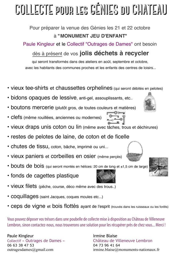 Liste Collecte Génies du Château 2